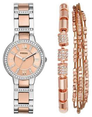Fossil Womens Virginia Two Tone Steel Watch Rose Bracelet Gift Set ES4137SET