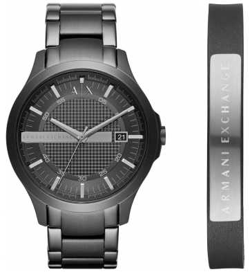 Armani Exchange Mens Dress Black Steel Bracelet Watch Leather Bracelet Gif AX7101