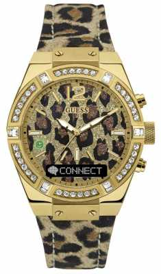 Guess CONNECT Womens Stone Set Animal Print Strap C0002M6