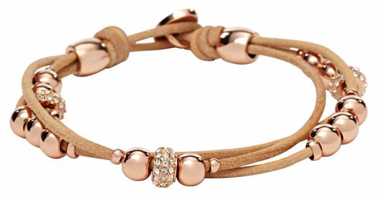 Fossil Womens Leather PVD Rose Gold Plated Bracelet JA6539791