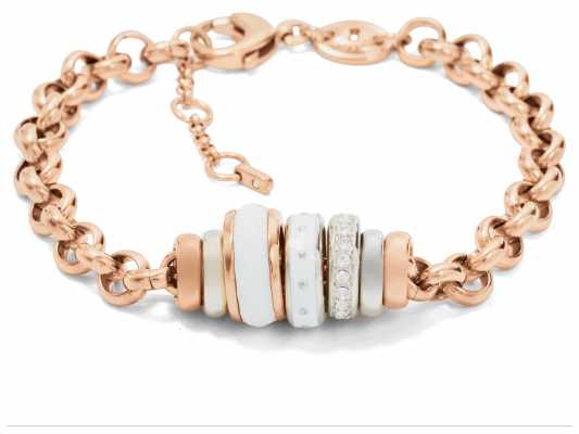 Fossil Womens PVD Rose Gold Plated Bracelet JF01121998