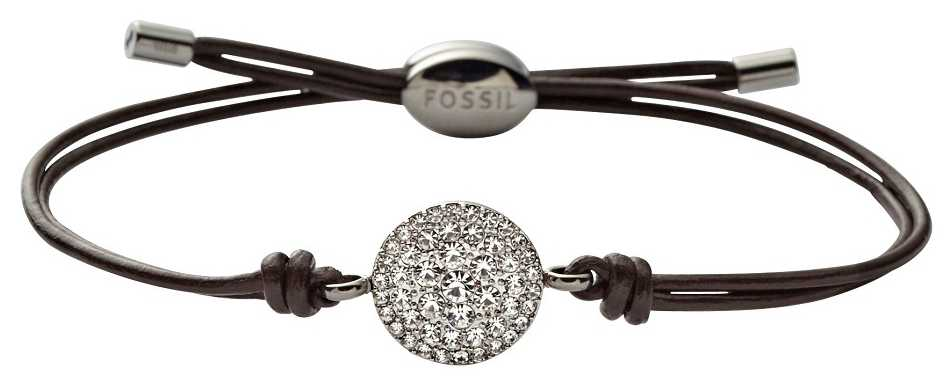 Fossil Womens Leather Stainless Steel Stone Set Bracelet JF00117040