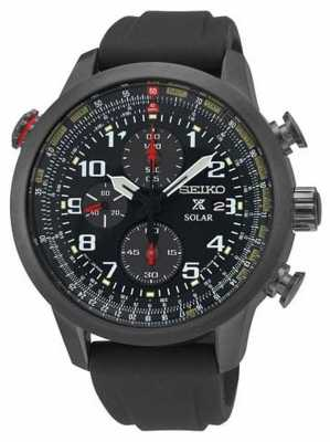Seiko Mens Prospex Ion Plated Black Rubber Strap SSC371P9