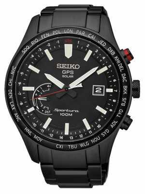 Seiko Sportura GPS Perpetual Solar Chronograph Black Ion Plated SSF005J1