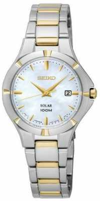 Seiko Womens Solar Two Tone Mother Of Pearl Dial SUT294P1