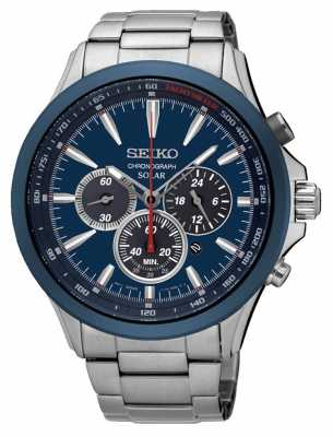 Seiko Mens Solar Powered Chronograph Blue Dial SSC495P1
