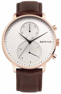 Bering Mens Rose Gold Tone, Brown Leather Strap 13242-564