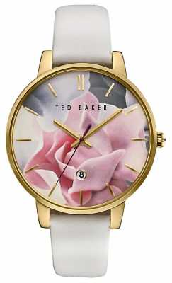 Ted Baker Womans Pink Rose Dial White Leather Strap TE10030691
