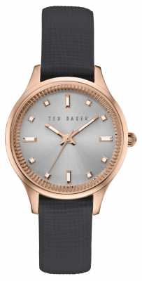 Ted Baker Womans Rose Gold Case Grey Leather Strap TE10030744