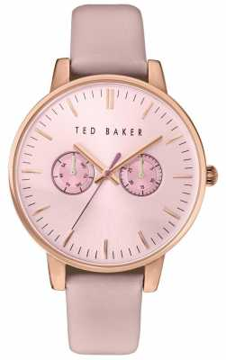 Ted Baker Womans Rose Gold Multi-function Dial Pink Leather Strap TE10030747