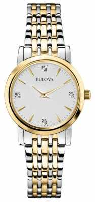 Bulova Womans Diamond Gallery Two Tone Watch 98S115