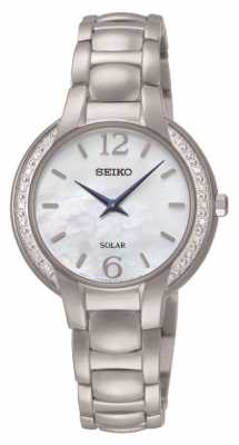 Seiko Womans Solar Stainless Steel Mother Of Pearl SUP253P9