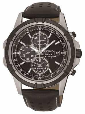 Seiko Mens Solar Black Chronograph Leather Strap SSC147P2