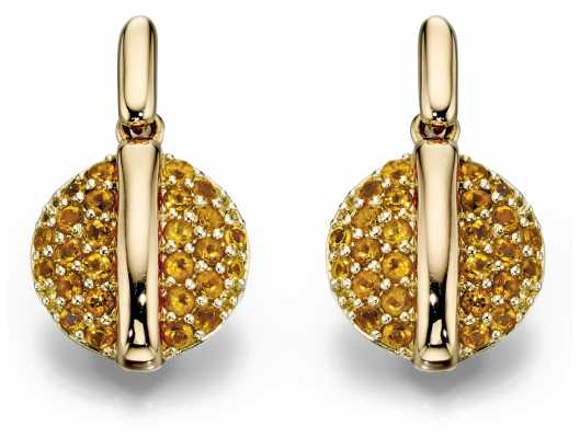 Fiorelli Gold 9k Y/gold Citrine Pavé Disc Earrings GE2057