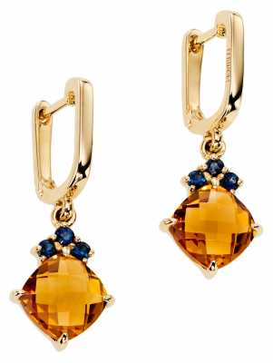 Fiorelli Gold 9k Yellow Gold Earrings With Citrine & Sapphire GE2098
