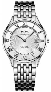 Rotary Mens Ultraslim Silver Stainless Steel GB90800/01