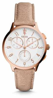 Fossil Womans Light Brown Leather Rose Gold Case CH3016