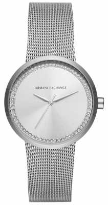 Armani Exchange Ladies Liv Silver Stainless Steel Mesh AX4501
