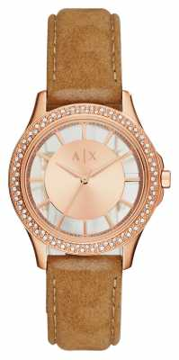 Armani Exchange Womans Tan Leather Rose Gold AX5254