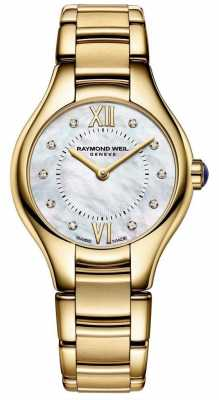Raymond Weil Womans Gold Plated Stainless Steel Diamond Mother Of Pearl 5124-P-00985