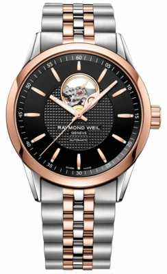 Raymond Weil Mens Automatic Black Dial Visible Balance Window Two Tone 2710-SP5-20021