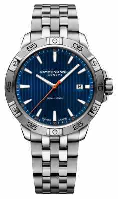 Raymond Weil Mens 41mm Stainless Steel Blue Index Dial 8160-ST2-50001