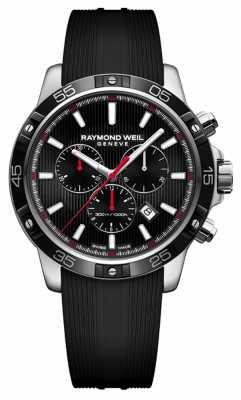 Raymond Weil Mens 43mm Black Chronograph Black Rubber Strap 8560-SR1-20001