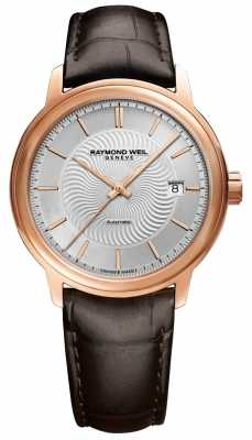 Raymond Weil Mens Automatic Rose Plated Exhibition Case Leather 2237-PC5-65001