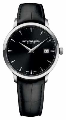 Raymond Weil Mens Slim Black Black Leather 5488-STC-20001