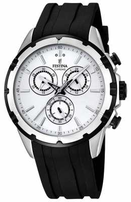 Festina Mens Chronograph Black Rubber Strap White Dial F16838/1