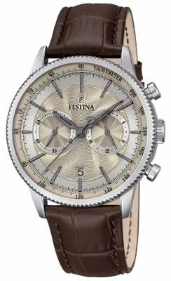 Festina Mens Chronograph Brown Leather Strap Beige Dial F16893/7