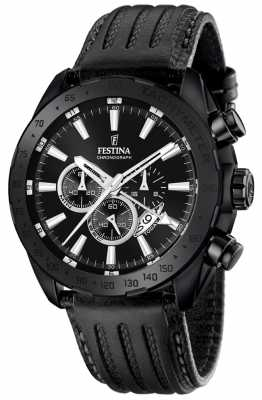 Festina Mens Black Leather Strap Black Dial F16901/1
