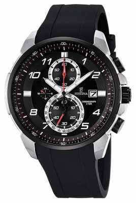 Festina Mens Chronograph Black Rubber Strap Black Dial F6841/2