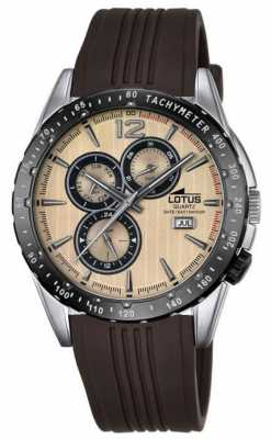 Lotus Mens Brown Rubber Strap Beige Dial L18310/2