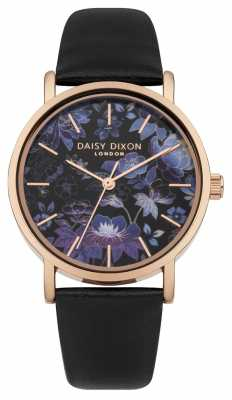 Daisy Dixon Black Leather Strap With Printed Flower Face DD037BRG