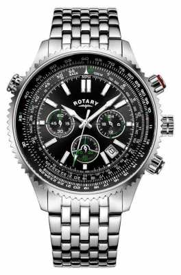 Rotary Gents Chronograph Steel Bracelet, Black Dial, Green Accents GB00699/10