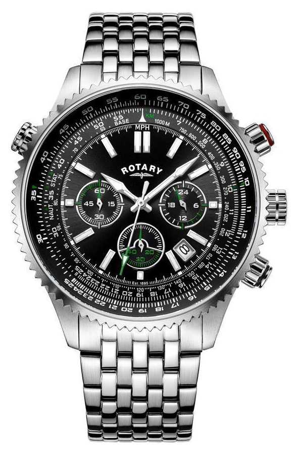 rotary watches official uk retailer first class watches rotary gents chronograph steel bracelet black dial green accents gb00699 10