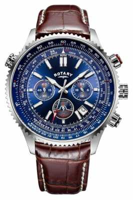 Rotary Gents Chronograph Blue Dial, Brown Leather Strap GS00699/05