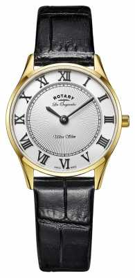 Rotary Rotary Ladies Gold Plated Black Leather Strap LS90803/01