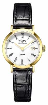 Rotary Rotary Windsor Ladies Gold Plated Black Leather Strap LS90156/01