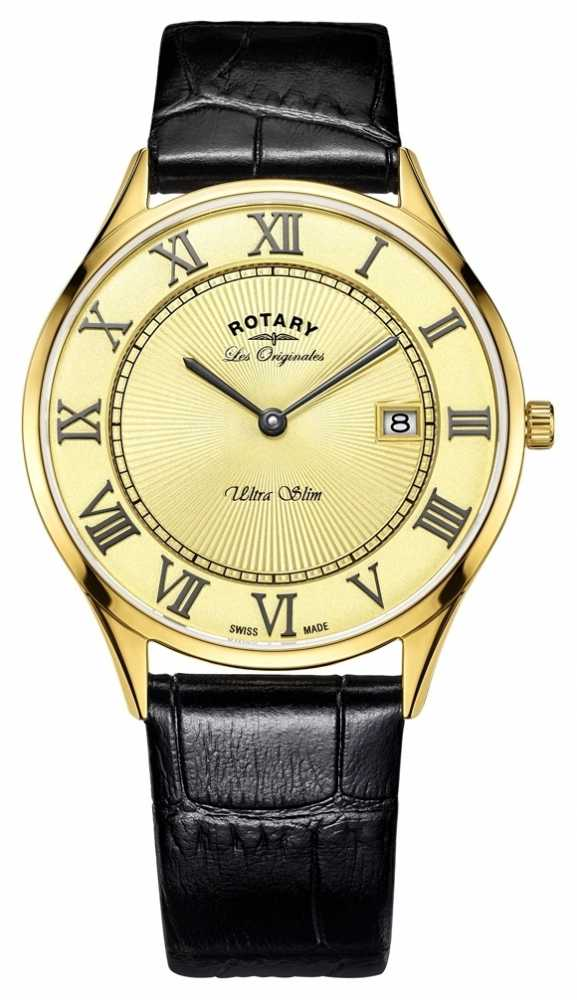 rotary watches official uk retailer first class watches rotary rotary ultraslim men s gold plated black leather strap gs90803 03
