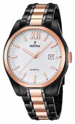 Festina Festina Mens Rose Gold-Black PVD Plated Steel Bracelet F16853/1