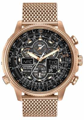 Citizen Navihawk A-T Rose Gold PVD Plated Eco-Drive Radio JY8033-51E