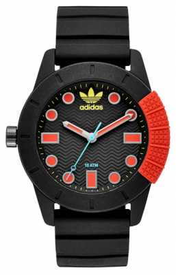 adidas Originals Mens Black and red Rubber Watch ADH3176