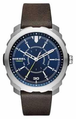 Diesel Mens Machinus Blue Dial, Brown Leather DZ1787