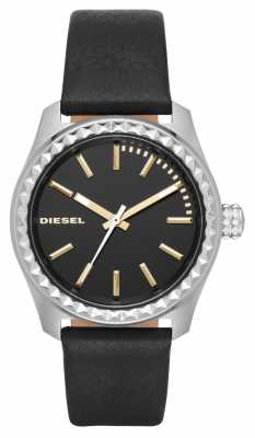 Diesel Mens Black Dial Black Leather Watch DZ5530