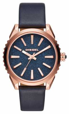 Diesel Blue Leather Blue Dial With Rose Gold Bezel DZ5532