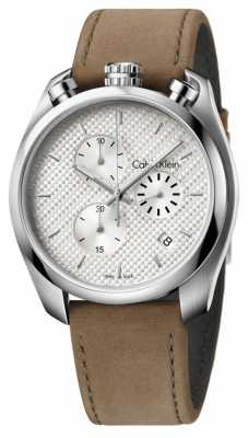 Calvin Klein Mens Control Brown Leather Chronograph K6Z371G6