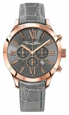 Thomas Sabo Mens Rebel Urban Chrono Grey Leather WA0227-274-210-43