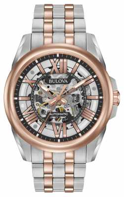 Bulova Mens Automatic Stainless Steel/rose Gold 98A166